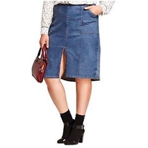 Who What Wear Front Slit Denim Pencil Midi Skirt
